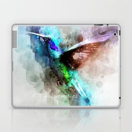 With brave wings she flies inspirational quote watercolor hummingbird motivational saying bird print Laptop & iPad Skin