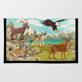 Funny animals in a mountain landscape Rug
