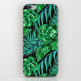 Blue and Green Ferns and Tropical Leaves iPhone Skin