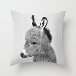 Donkey - Black & White Throw Pillow