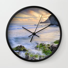 lonely sunset at the sea Wall Clock