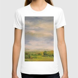 Scenic Autumn Late Afternoon in Vermont Nature Art Landscape Oil Painting T-shirt