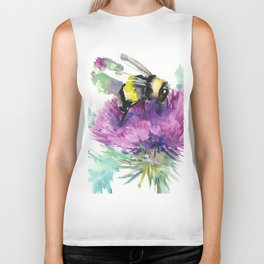 Bumblebee and Thistle Flower, Biker Tank