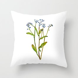 Forget-me-not flowers watercolor art Throw Pillow
