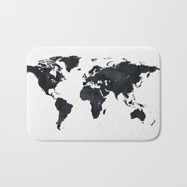 World Map in Black and White Ink on Paper Bath Mat