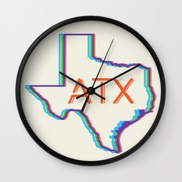 ATX Austin, Texas Retro Neon Lights Wall Clock