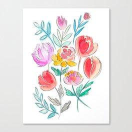 June Watercolor Flowers Canvas Print