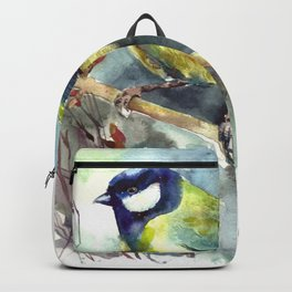 Watercolor aquarelle titmouse bird Backpack