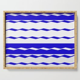 Blue and White WAVE Pattern abstract blue Serving Tray