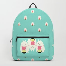 Fat bunny eating noodles pattern Backpack