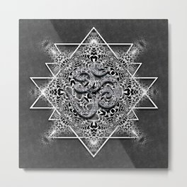 OM Geometry Black White Tribal Metal Print