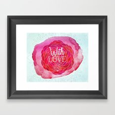 With Love - Boho Watercolor Mandala Framed Art Print