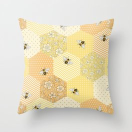 Patchwork Bees Pattern Throw Pillow