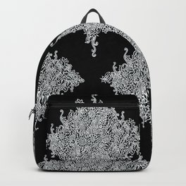 White and Black Floral Lace Backpack