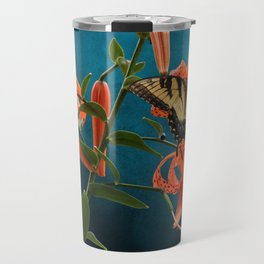 Eastern Tiger Swallowtail Butterfly On Orange Tiger Lily Travel Mug