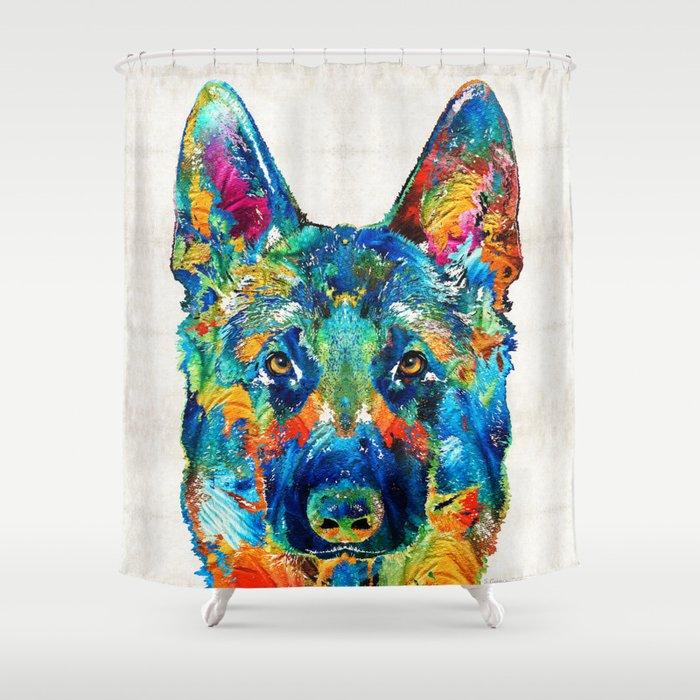Colorful German Shepherd Dog Art By Sharon Cummings Shower Curtain ...