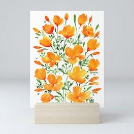 Watercolor California poppies Mini Art Print