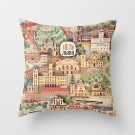 Lviv. Open for the World. Throw Pillow