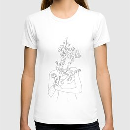 Minimal Line Art Woman with Wild Roses T-shirt