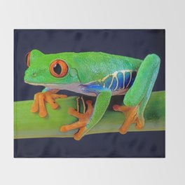 TREE FROG ON BAMBOO Throw Blanket