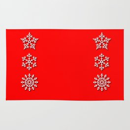 Five Different White Snowflakes in a Row on a Red Background Rug