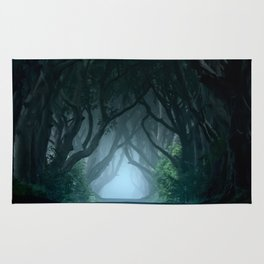 Cold foggy morning in Dark Hedges Rug