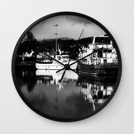 Boats on the Canal Wall Clock