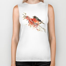 American Robin and Berries Biker Tank