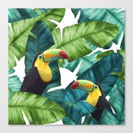 Toucans Tropical Banana Leaves Pattern Canvas Print