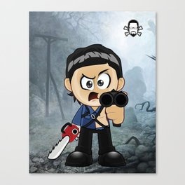 Lil Horror Classics Featuring Ash from Evil Dead Canvas Print