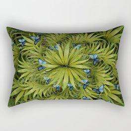 """El Bosco fantasy, tropical island blue butterflies"" Rectangular Pillow"