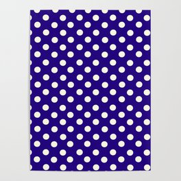 Polka Dot Party in Blue and White Poster