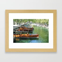 Boats on Lac D'annecy Framed Art Print