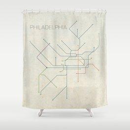 Minimal Philadephia Subway Map Shower Curtain
