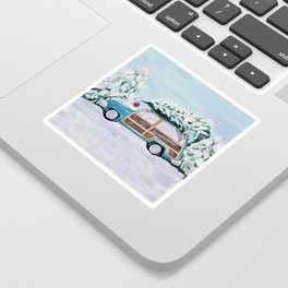 Blue vintage Christmas woody car with pine tree Sticker