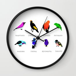 Birds react to the state of the world Wall Clock