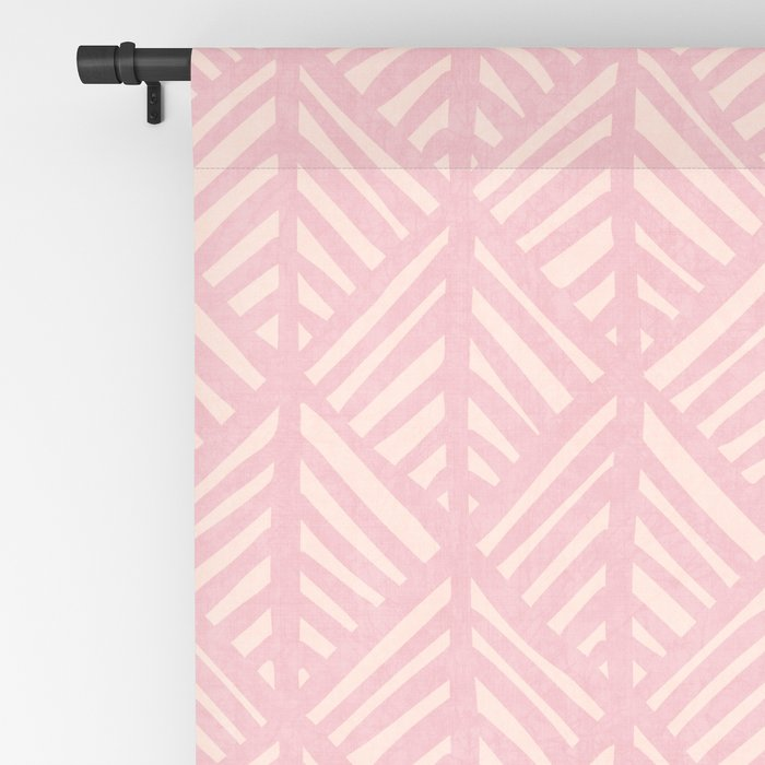 Abstract Leaf Pattern in Pink Blackout Curtain