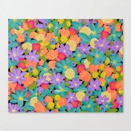 Wild Flowers Design Colorful Feminine Artsy Beautiful Black Background Canvas Print