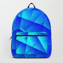 Bright sea pattern of heavenly and blue triangles and irregularly shaped lines. Backpack