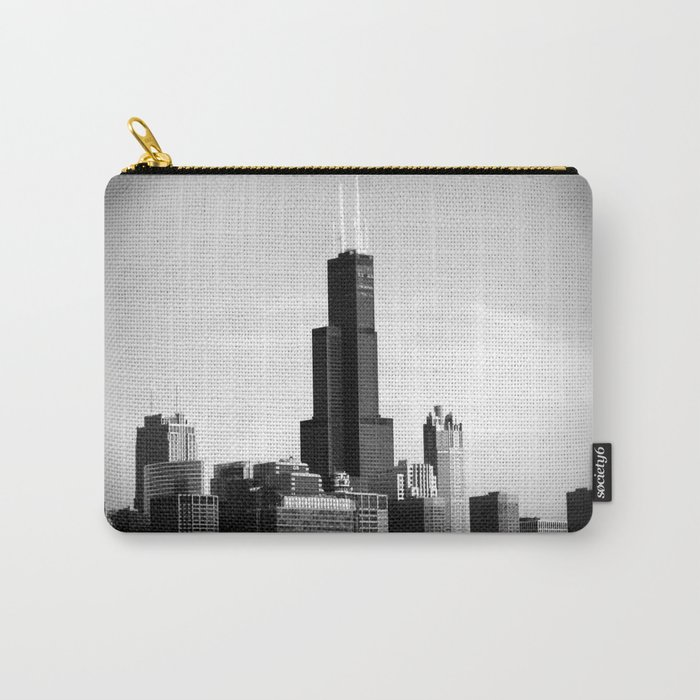 Black and White Chicago Sky Carry-All Pouch