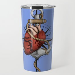 Love and Sea (anchor with heart and compass) Travel Mug