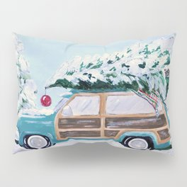 Blue vintage Christmas woody car with pine tree Pillow Sham