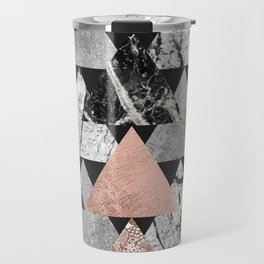 Marble Rose Gold Silver and Floral Geo Triangles Travel Mug