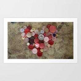heart of buttons Art Print