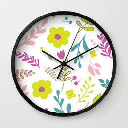 Colorfull flowers on white Wall Clock