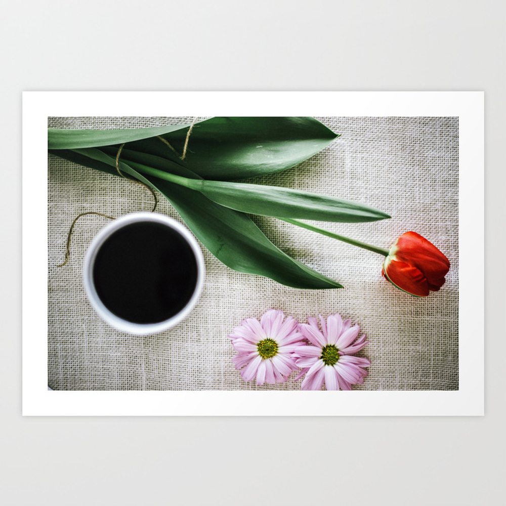 Color Print Coffee & Flowers Art Print by Shellyotteson PRN9003756