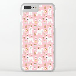 Bichon Frise coffee latte mocha lover cafe dog portrait gifts for dog lovers with bichons Clear iPhone Case
