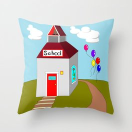 An Ole School House with Balloons Throw Pillow