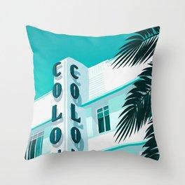 Colony Hotel Miami Beach Throw Pillow