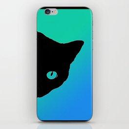 Black Cat Blue Green Tshirt iPhone Skin